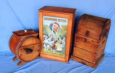 Primitive Antique Higham Rocker Lid Wood Box W/Antique Glass Bottle 10
