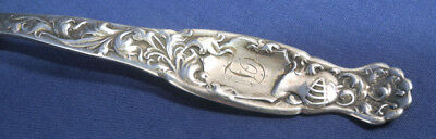 "Whiting Sterling Silver Heraldic Sugar Shell Spoon Fluted with Gold Wash 6"" 4"