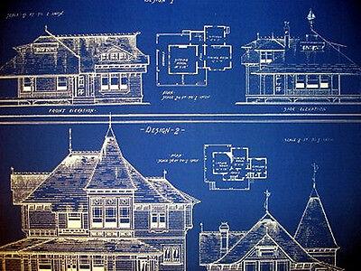 """Vintage House Ocean Front Sea Cottage 1881 Blueprint 24"""" x 32""""   (058) 2"""