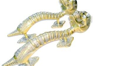 """2 small SKULL head handle DOOR PULL spine natural AGED BRASS old style 8"""" B 11"""
