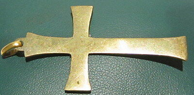 OUTSTANDING VINTAGE BRASS CROSS,ENGRAVING,EARLY 20th. Century !!! # 40A 6