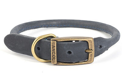 Ancol Timberwolf Round Sewn Leather Dog Collar Lead Sable Brown Blue Navy 2