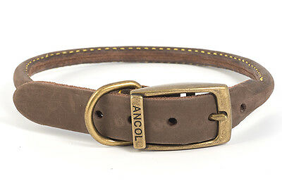 Ancol Timberwolf Round Sewn Leather Dog Collar Lead Sable Brown Blue Navy 3