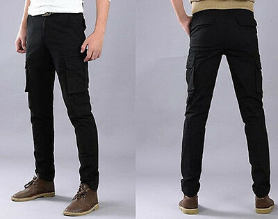 Military Men/'s Chic Slim Fit Skinny Casual Cargo Overalls Pants Packet Trousers