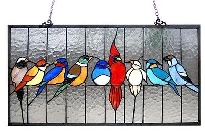 "Singing Birds Tiffany Style Stained Glass Window Panel 24"" Long x 13"" High 2"