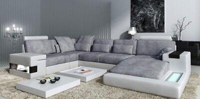 Ledersofa Sofa Couch Polster Ecke Design Wohnlandschaft Eckgarnitur