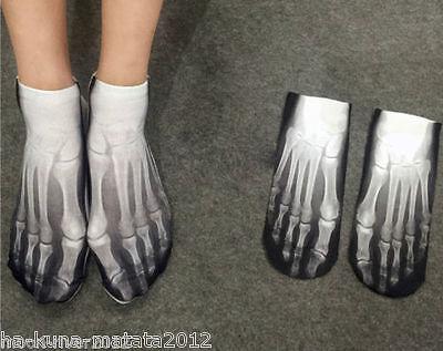 UK Sale: SKELETON New Short SOCKS UK Shoe 3-7, 1 pr 3D Digital Photo FOOT X-RAY 2