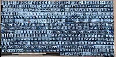FETTE ANTIQUA 7,5mm Bleischrift Bleisatz Buchdruck Alphabet Bleilettern Lettern 2
