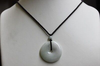 Certified Natural JADE Type A Untreated Light Green Jadeite Circle Donut Pendant 7
