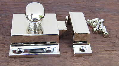 Reproduction Large Solid Brass Cabinet Latch (Polished Nickel) 4