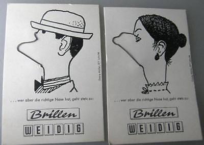 6 Werbespiele eines Optikers Gesichter um 1960 (15405)
