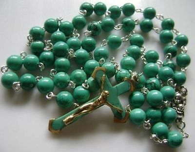 Turquoise BEADS & Turquoise CROSS Crucifix 5 DECADE ROSARY Catholic NECKLACE 2