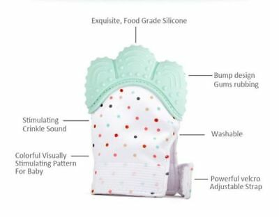 Silicone Baby Mitts Teething Mitten Teething Glove Candy Wrapper Sound Teether 5