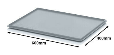 600 x 400 Euro Container Heavy Duty Plastic Drop on Lid GREY 2