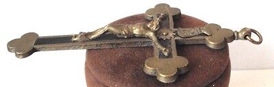 OUTSTANDING VINTAGE BRASS CROSS WITH CRUCIFIXION,EARLY 20th. Century !!! # 462 7