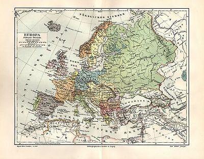 EUROPA Politische Übersicht Staaten KARTE von 1905 Deutsches Reich Österreich