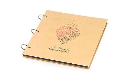 DIY BK 30 PAGE Heart Black Kraft Hard Cover Photo Album Wedding Scrapbook