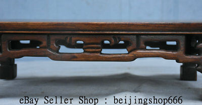 "14"" Old Chinese Huanghuali Wood Hand Carved Natural Lines Table Desk Furniture 3"
