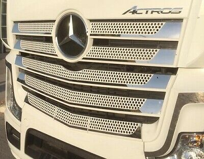 11-Pieces Chrome Front Grill Cover Set Fits Actros MP4 2013+ Wide Cabin