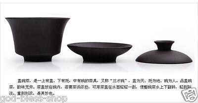 Chinese kung fu tea set purple clay tea pot gaiwan mini cup solid wood tea tray 6