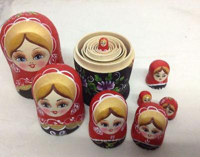 8Pcs Handmade Russian Nesting Wooden Dolls Matryoshka Birthday Toys Gifts UK 3
