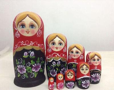 5/6/7/10pcs Wooden Russian Nesting Doll Animal Matryoshka Babushka Stacking Doll 5