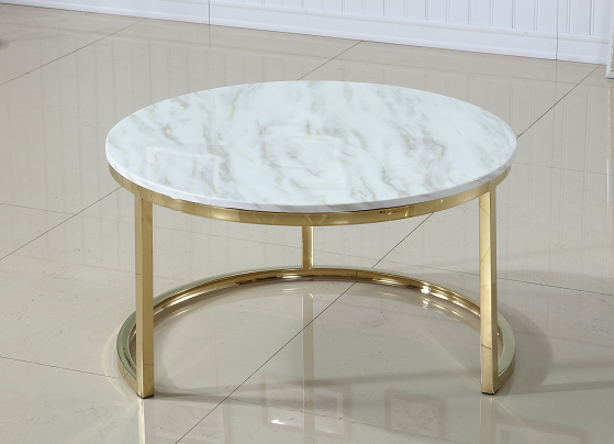 Marble And Silver Coffee Table.Coffee Table Round Marble Top With Silver Stainless Steel Base Nest Of Two New