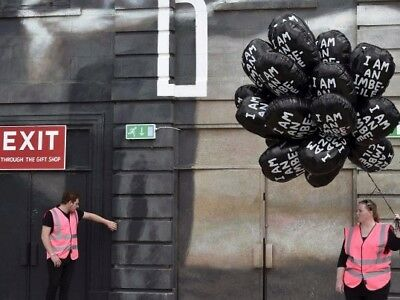 Genuine Banksy Dismaland I Am An Imbecile Balloon Rare David Shrigley Girl