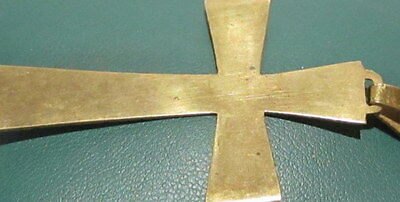 OUTSTANDING VINTAGE BRASS CROSS,ENGRAVING,EARLY 20th. Century !!! # 42A 6