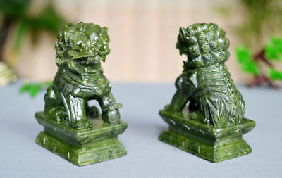 A Pair 100% Natural China Green Jade Carved Fengshui Foo Fu Dog Guard Door Lion 7