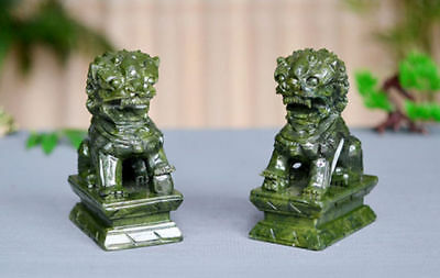 A Pair 100% Natural China Green Jade Carved Fengshui Foo Fu Dog Guard Door Lion 2