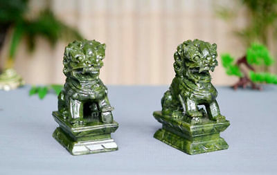 A Pair 100% Natural China Green Jade Carved Fengshui Foo Fu Dog Guard Door Lion 4