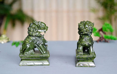 A Pair 100% Natural China Green Jade Carved Fengshui Foo Fu Dog Guard Door Lion 6