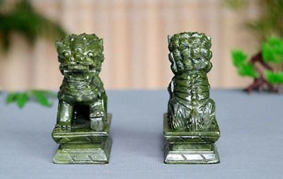 A Pair 100% Natural China Green Jade Carved Fengshui Foo Fu Dog Guard Door Lion 5
