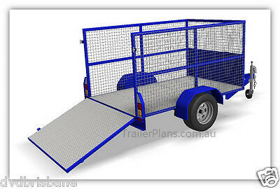 Trailer Plans - CAGE TRAILER PLANS - 3 sizes - 7x4, 8x5 & 9x5ft- PLANS ON CD-ROM 2