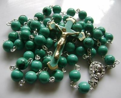 Turquoise BEADS & Turquoise CROSS Crucifix 5 DECADE ROSARY Catholic NECKLACE 7