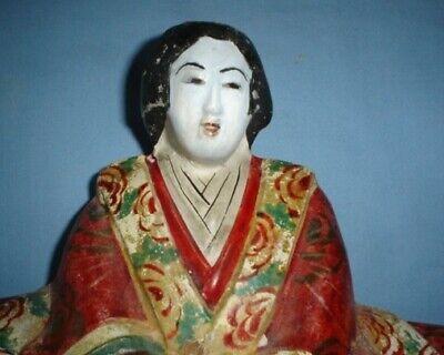 Antique Japanese Meiji Papier Mache Figure Of Empress 4