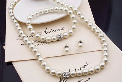 Bridesmaid Jewelry Set, Wedding Jewellery, Pearls, Necklace, Bracelet Earrings 5