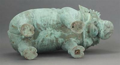 "THAI BRONZE GARDEN SEAT In the form of a caparisoned pig. Length 22.5"". Lot 606 4"