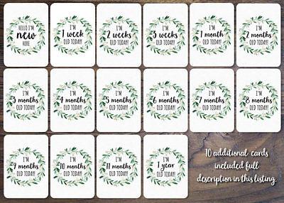 Gender Neutral Printed Milestone Cards - Wreath Baby (set of 26 cards) 3