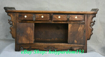 """23"""" Old Chinese Huanghuali Wood Dynasty Drawer Classical Cupboard Cabinet Desk 8"""