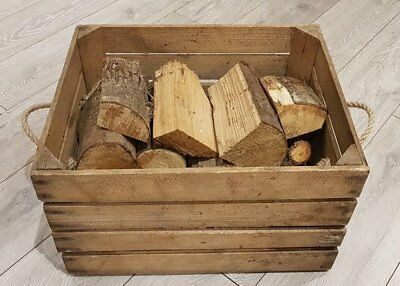 LOG BASKET / FIRE WOOD STORAGE  / FIREPLACE KINDLING BOX  Old Wooden Apple Crate 4