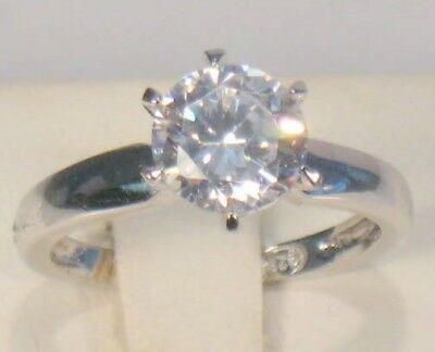 2 Ct Round Diamond Solitaire Engagement Ring White Gold Platinum Finish 2