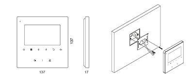 2 Draht Bus System 4,3'' Video Türsprechanlage Fischaugen Kamera 6