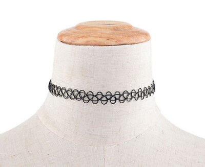 Hippy 90s Stretch Tattoo Elastic Boho Choker Necklace Bracelet Cord Retro Gothic 4