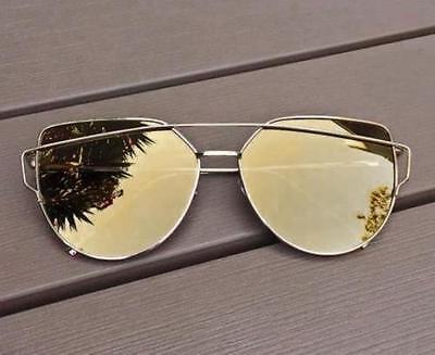 Large Metal Cat Eye COLOR Mirror Love Punch Aviator Gentle Wayf Sunglasses 4113