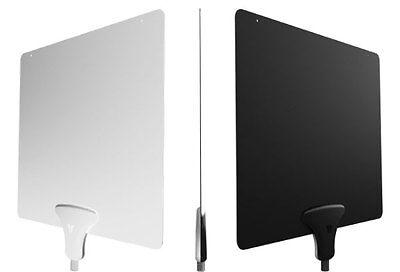 Digital 15dB Amplified Flat Indoor TV Antenna HDTV DTV UHF VHF FM Black /& White
