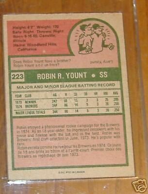 robin yount rookie 1975 OPC    # 223