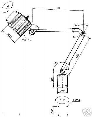 Arbeitsleuchte Maschinenlampe 250 x 200 mm 12V 55W H3 230V