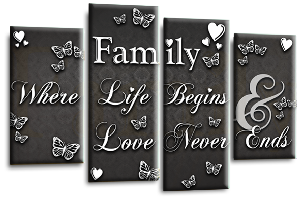 LOVE QUOTE Canvas Wall Art Picture Powder Grey Red Black Split 4 Panel 112cm